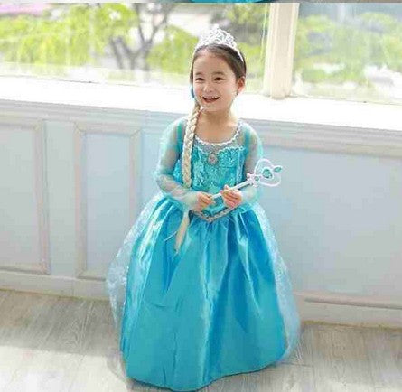 Queen Elsa Party Cosplay Dress Costume Fancy Cartoon Princess Girls Dresses Kids Dress