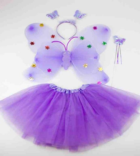 Stage Performance Costume Fairy Angel Butterfly Wings+tutu skirt Christmas Cosplay Costume For Kids