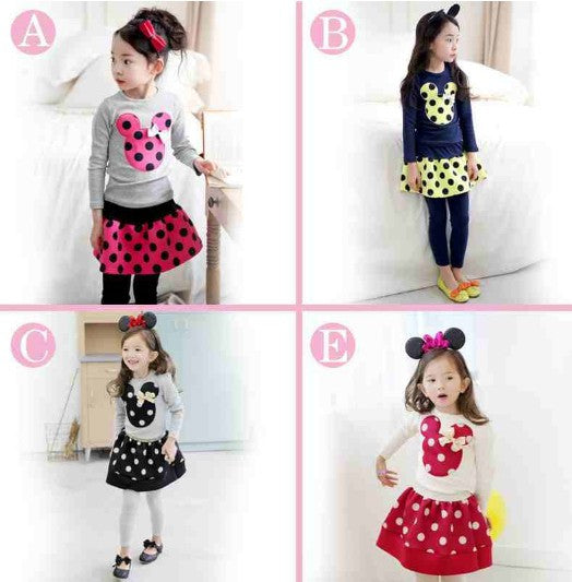 New 2015 Baby Girl Cotton Clothing Set  Autumn Girls Clothing Sets Fashion cartoon Kids Clothes Sets 2~6 Age