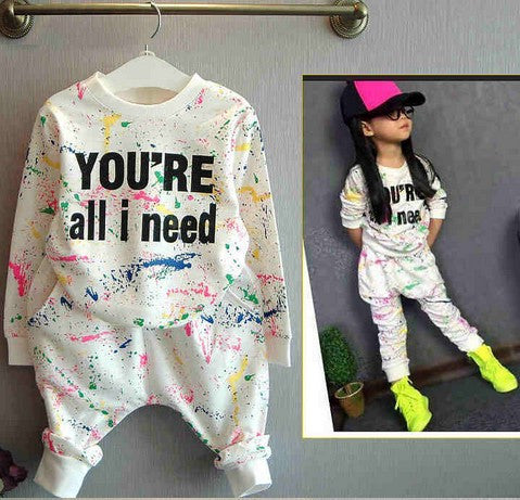 2015  New Girls Bear Long-Sleeve T-Shirt + Flower Legging Clothing Set Cotton Hot Kids Casual Clothes Sets Autumn