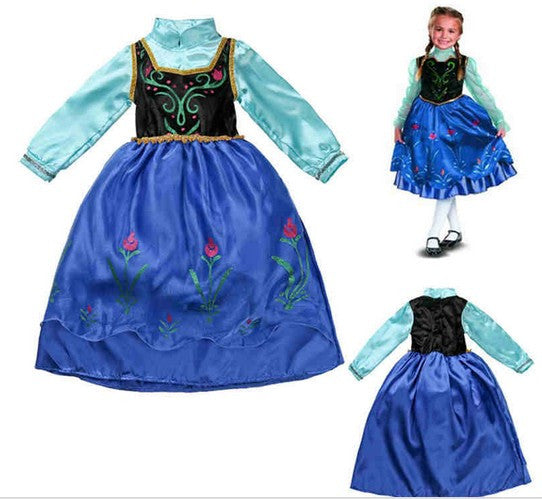 2015 Girls Kids Party Fancy Dress Cartoon Elsa Anna Cosplay Costume High Quality