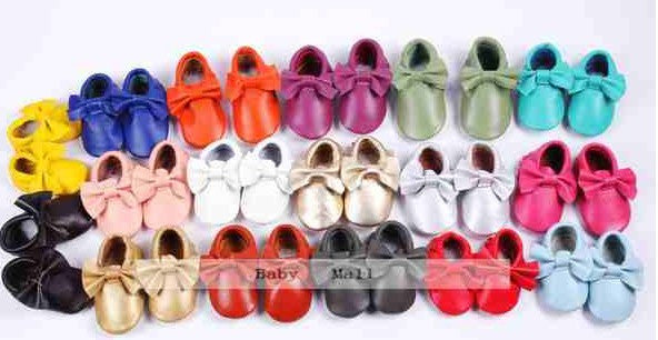New19 colors fringe soft Baby girl bow shoes First Walker Chaussure newborn Genuine Leather Baby Moccasins shoes boys footwear