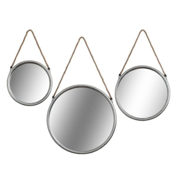 Set of three Round Mirrors with Rope Detail
