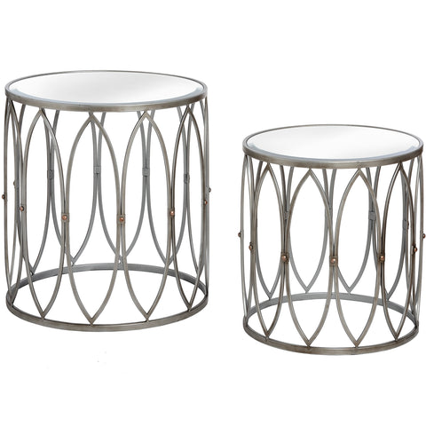 Set of Two Silver Tables with Copper Stud