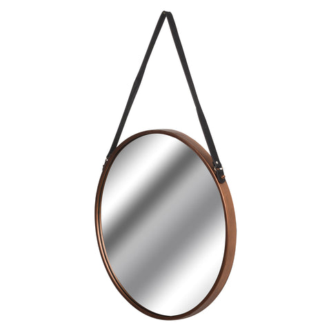 Copper Rimmed Round Mirror
