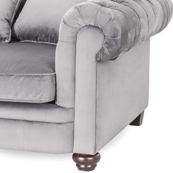 Tan Faux Button Pressed Chesterfield Sofa
