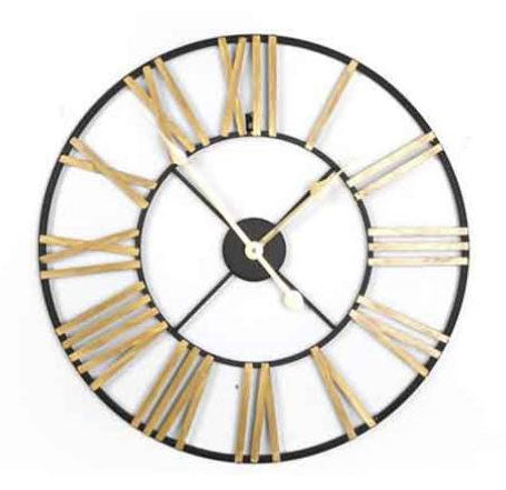 Black and Gold Skeleton Station Wall Clock