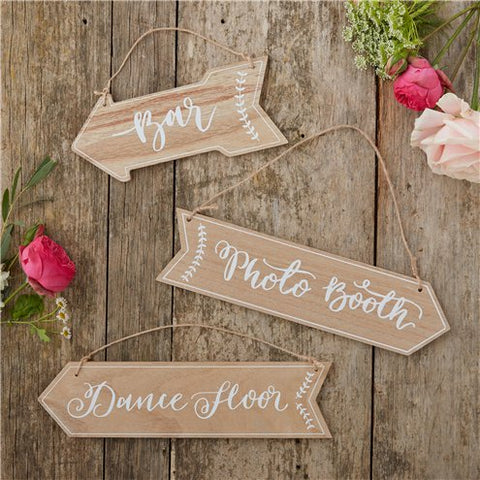 Boho Wedding Wooden Arrow Signs