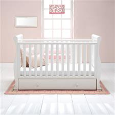 East Coast Alaska Sleigh Cot Bed with Drawer in White