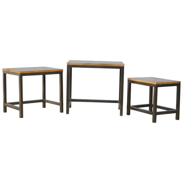 Stool set of 3 with Iron Base