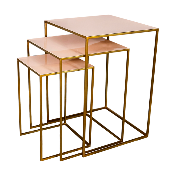 Nest of 3 Gold Side Tables Pale Pink
