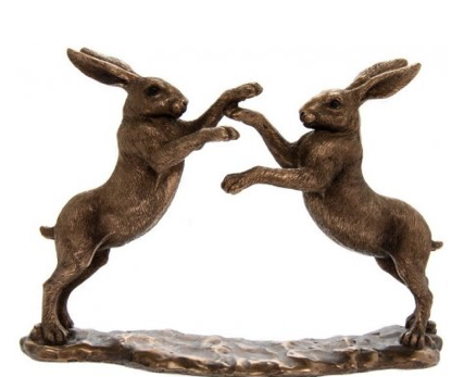 Boxing Bronze Hares