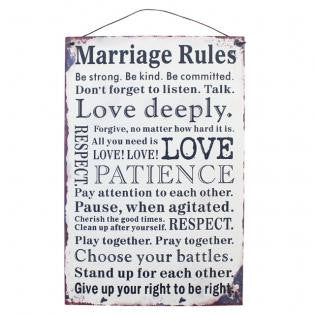 Marriage Rules Metal Sign