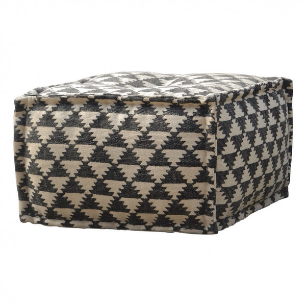Square Durrry and White Pouffe