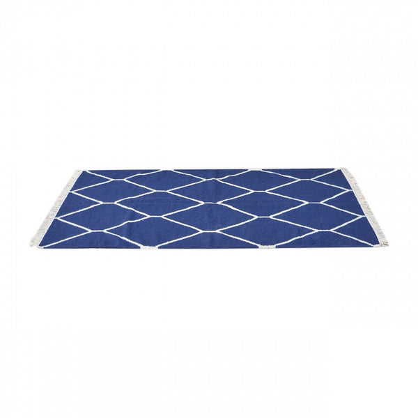 Navy Net Pattern Rug