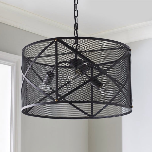 Industrial Cage Black Pendant Light