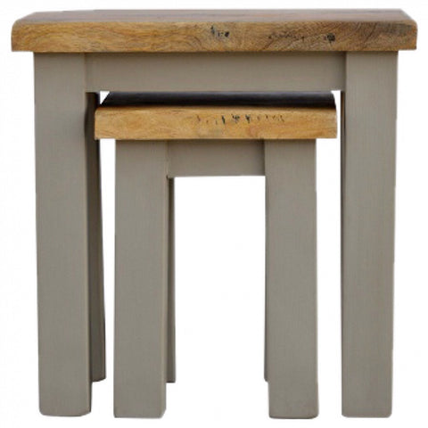 Grey Hand Painted Set of 2 Nesting Tables with Wooden Tops