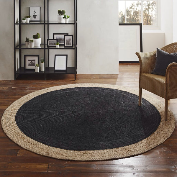 Milano Soft Jute Rug with Charcoal Centre