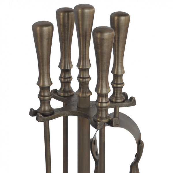Pewter 4 piece fire companion set