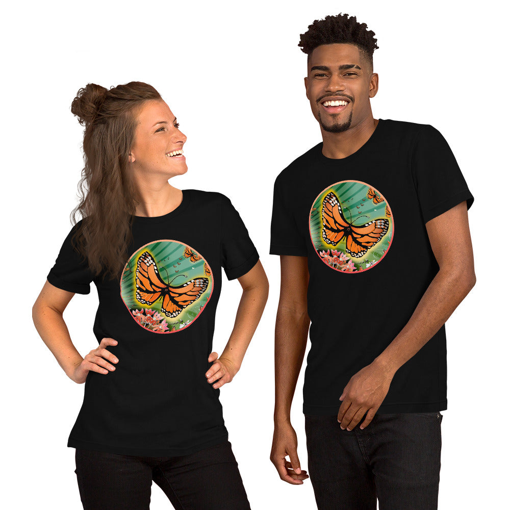 Short Sleeved Unisex T-Shirt, Summer Monarch