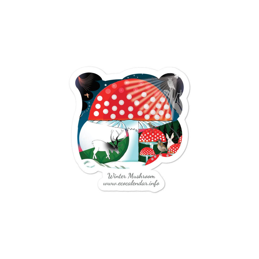 Bubble-free stickers, Winter Mushroom