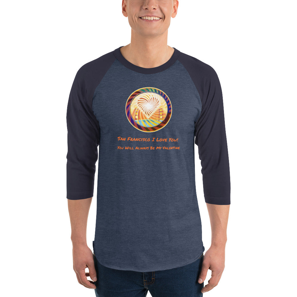 3/4 sleeve raglan T-shirt, The Heart of San Francisco