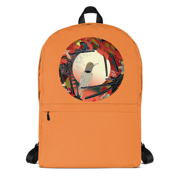 Fall back to school back pack showing a Northern Flicker behind a Harvest Moon from ECOlogical Calendar by Chris Hardman.