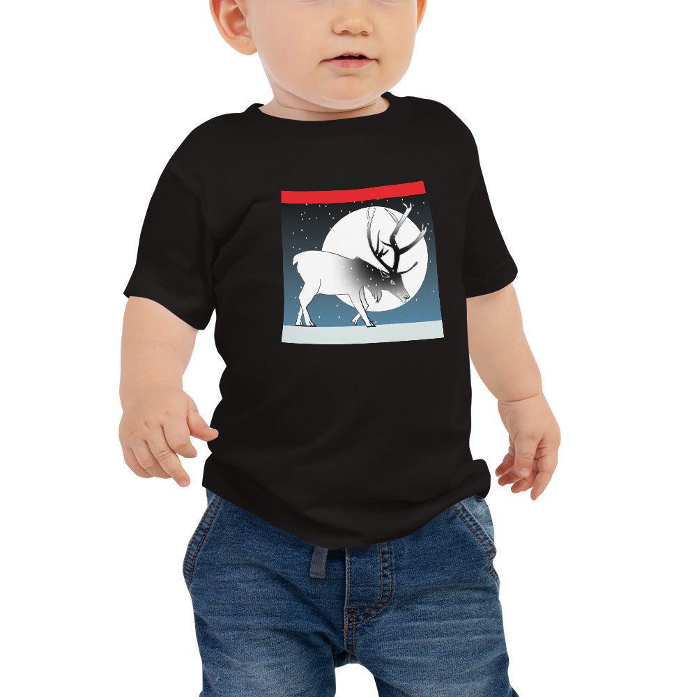 Baby Jersey Short Sleeve Tee, Winter Deer