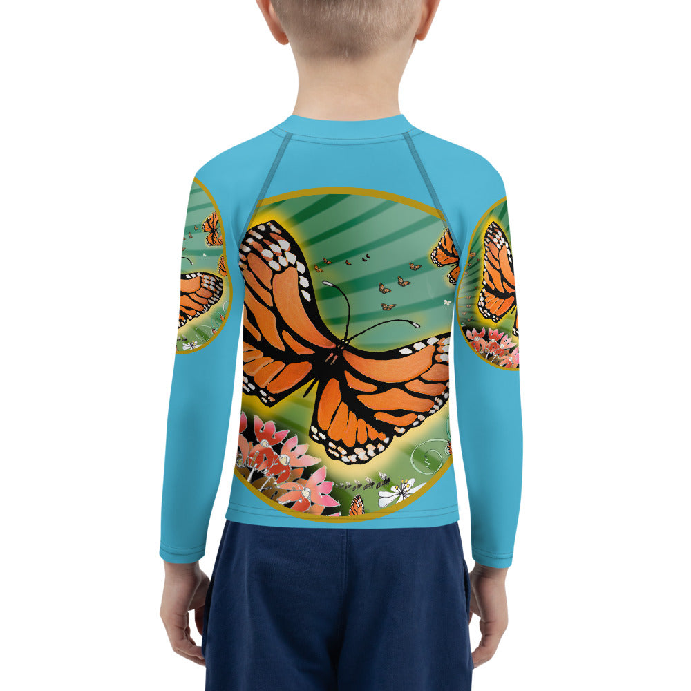 Kids Rash Guard, Monarch Butterfly