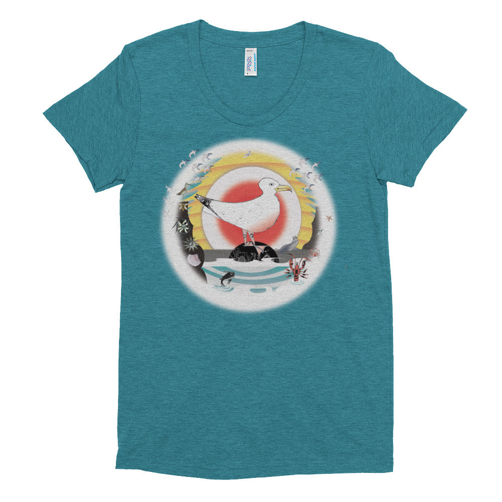 Women's Crew Neck T-shirt, Summer Seagull