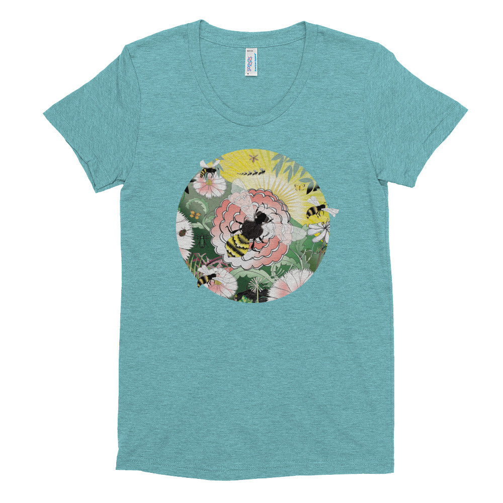 Women's Crew Neck T-shirt, Spring Bee