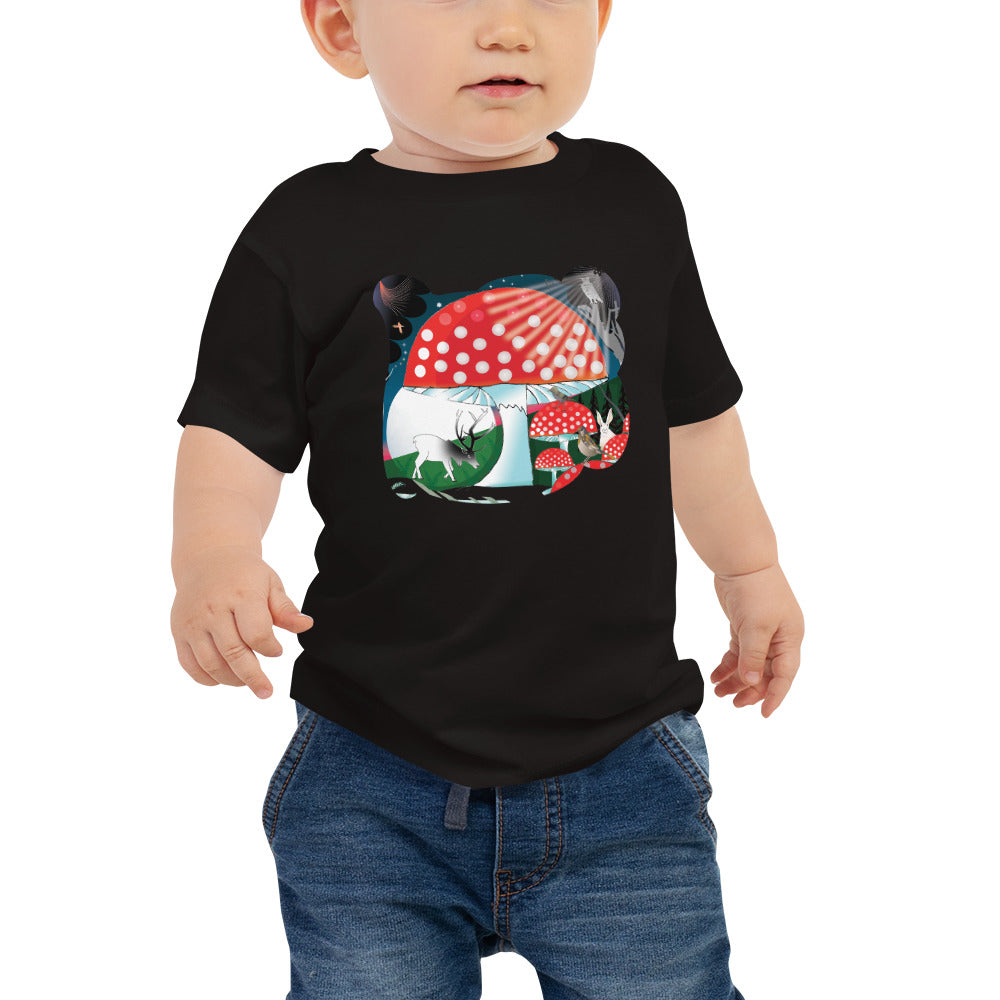 Baby Jersey Short Sleeve Tee, Winter Mushroom