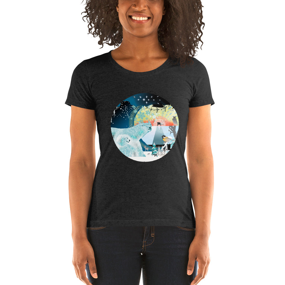 Ladies' short sleeve t-shirt, Winter Polar Bear