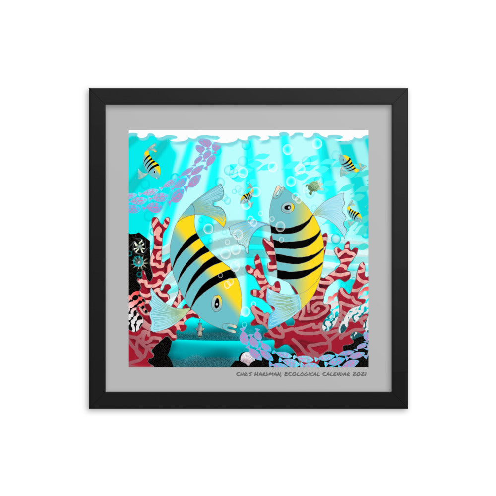 Framed photo paper poster, Coral Reef Fish 2021