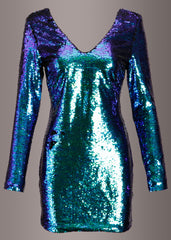 Green sequin cocktail dress