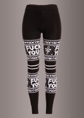 Sourpuss F You Christmas Sweater Leggings