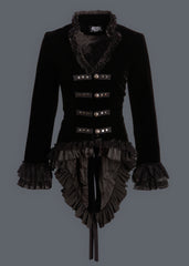 Black velvet steampunk jacket