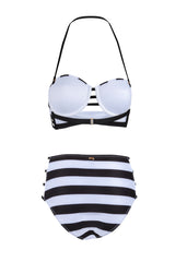 Black and white high waisted swimsuit