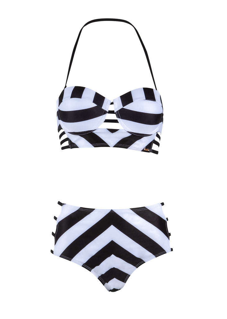 Black and white high waist bikini