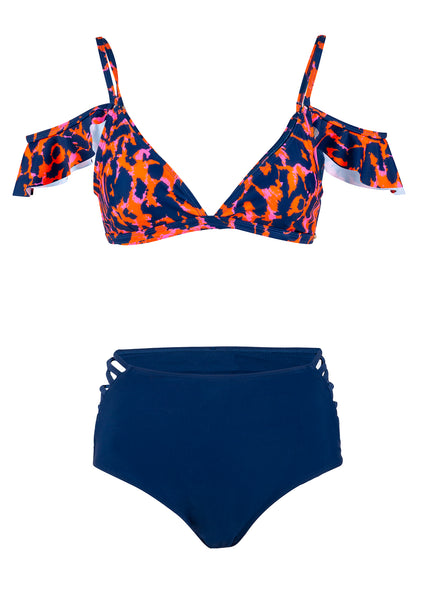 Leopard print high waisted swimsuit