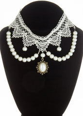 Bridal white lace necklace