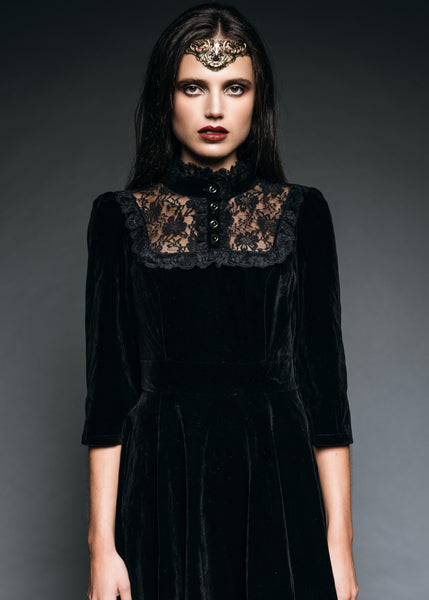 Dark Empress Black Velvet High Collar Dress with Lace Details