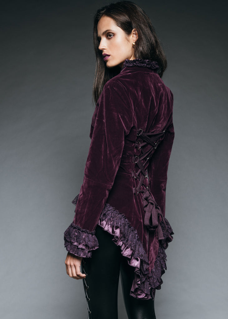 Witchy Woman Purple Velvet Steampunk Tail Jacket with Back Lacing