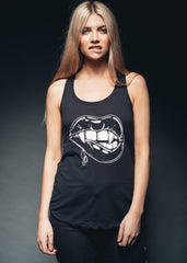 Black vampire lips tank top