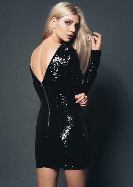 Glamourous Glances Black Sequin Dress