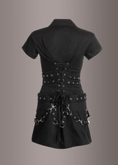 Black punk dress with buckles