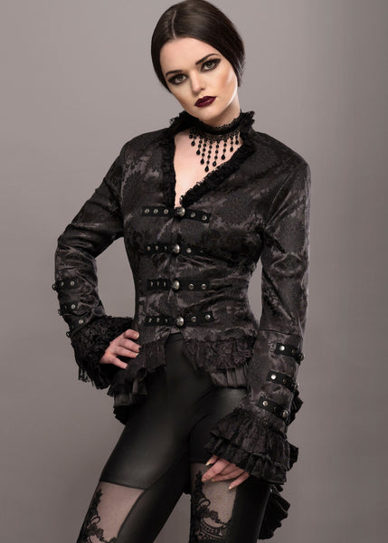 Elegant Black Victorian Jacket with Lace Embellishments