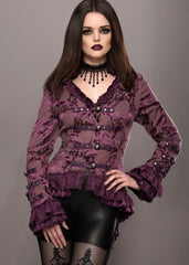 Elegant Purple Victorian Jacket with Lace Embellishments