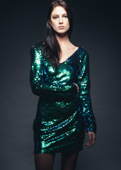 Womens green sequins dress