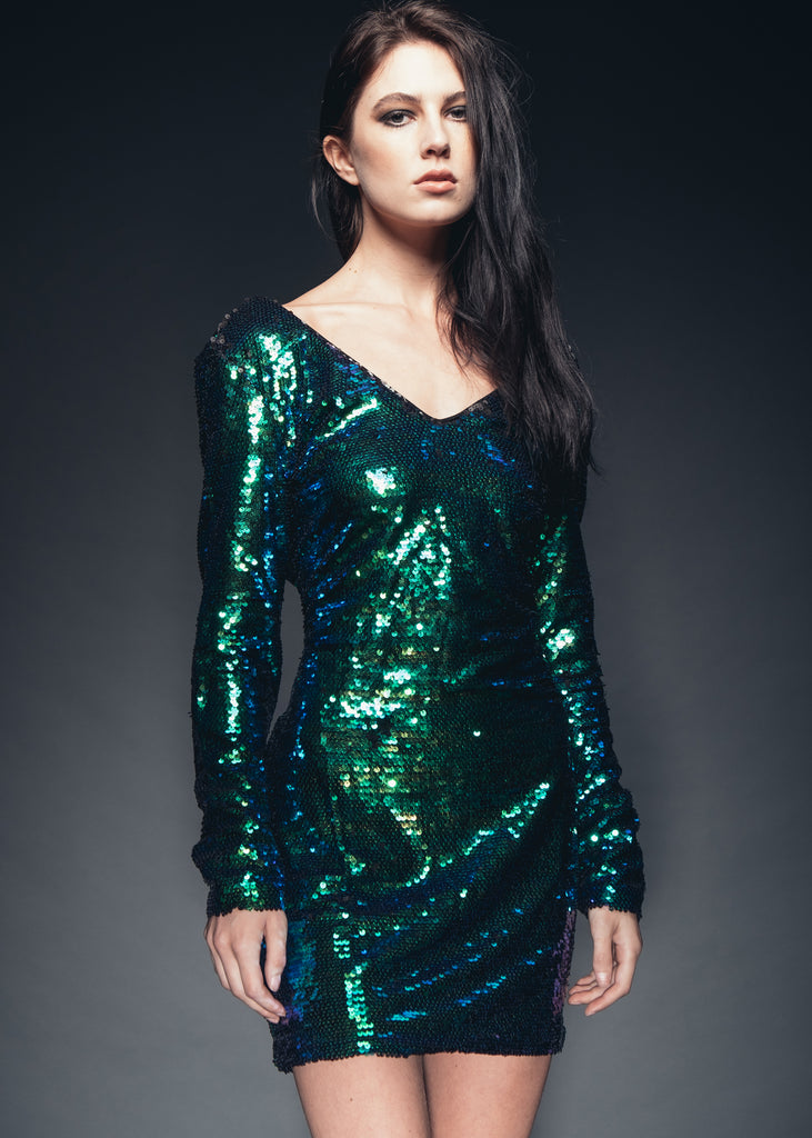 Womens blue sequin dress